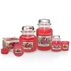 Candele profumate yankee candle fragranza Red raspberry disponibile in più formati grande media piccola per auto tea light sampler e tart