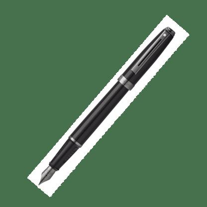 stilografica sheaffer sagaris colore nero con finiture color canna di fucile