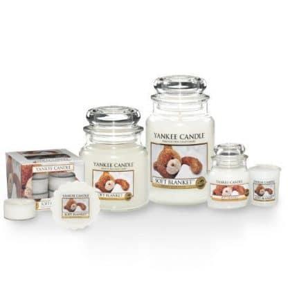 Candele profumate yankee candle fragranza Soft Blancket disponibile in più formati grande media piccola per auto tea light sampler e tart