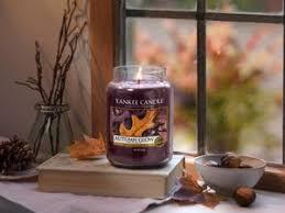 Candele profumate yankee candle fragranza Autumn glow disponibile in più formati grande media piccola per auto tea light sampler e tart