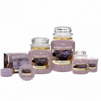 Candele profumate yankee candle fragranza Dried lavender & Oak disponibile in più formati grande media piccola per auto tea light sampler e tart