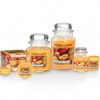 Candele profumate yankee candle fragranza Mango Peach Salsa disponibile in più formati grande media piccola per auto tea light sampler e tart
