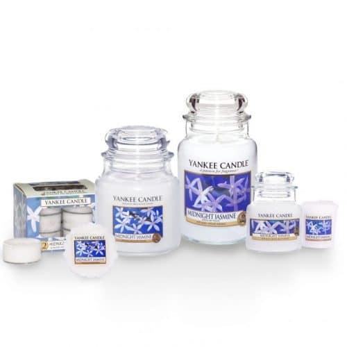 Candele profumate yankee candle fragranza Midnight Jasmine disponibile in più formati grande media piccola per auto tea light sampler e tart