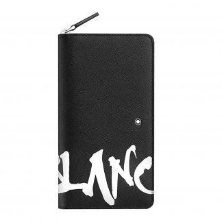 portafoglio donna montblanc calligraphy in pelle saffiano colore nero logato montblanc