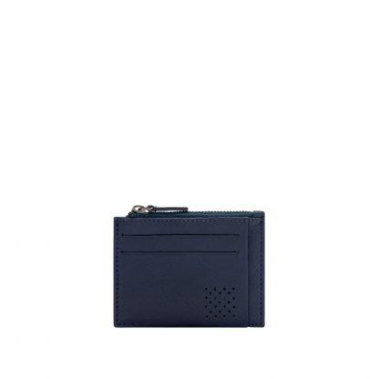 porta card Dudubags in pelle può contenere 7 card con zip per monete e banconote colore blu