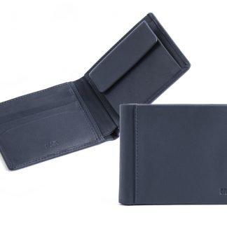 portafoglio piccolo uomo nava smooth in pelle 4 carte di credito e portamonete colore blu