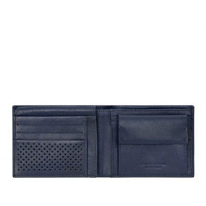 Portafoglio dudubags in pelle con 8 tasche porta carte di credito 4 tasche per documenti portamonete e tasca per banconote colore blu