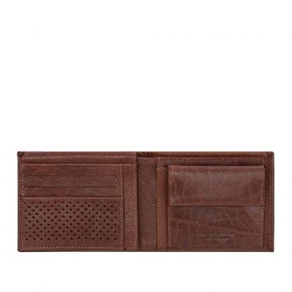 Portafoglio dudubags in pelle con 8 tasche porta carte di credito 4 tasche per documenti portamonete e tasca per banconote colore cuoio