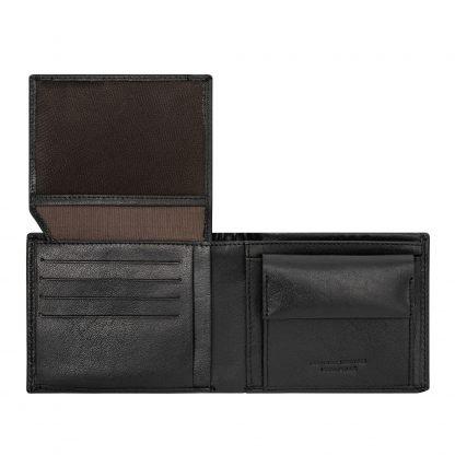 Portafoglio dudubags in pelle con 8 tasche porta carte di credito 4 tasche per documenti portamonete e tasca per banconote colore nero