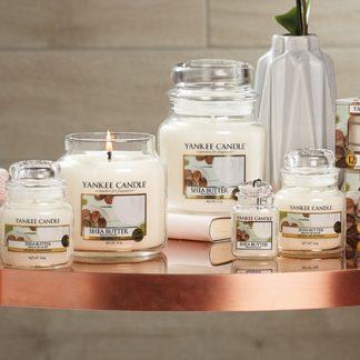 Candele profumate yankee candle fragranza Shea Butter disponibile in più formati grande media piccola per auto tea light sampler e tart