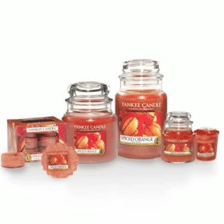 Candele profumate yankee candle fragranza Spiced Orange disponibile in più formati grande media piccola per auto tea light sampler e tart