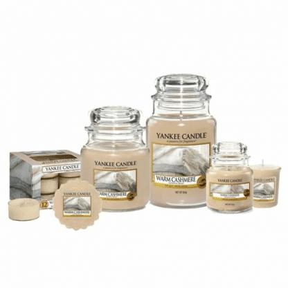 Candele profumate yankee candle fragranza Warm Casmere disponibile in più formati grande media piccola per auto tea light sampler e tart
