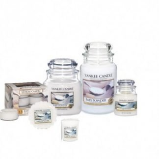 Candele profumate yankee candle fragranza baby powder disponibile in più formati grande media piccola per auto tea light sampler e tart