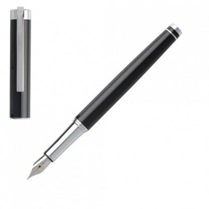 Penna Stilografica Hugo Boss Ace Black corpo laccato nero lucido con finiture cromate