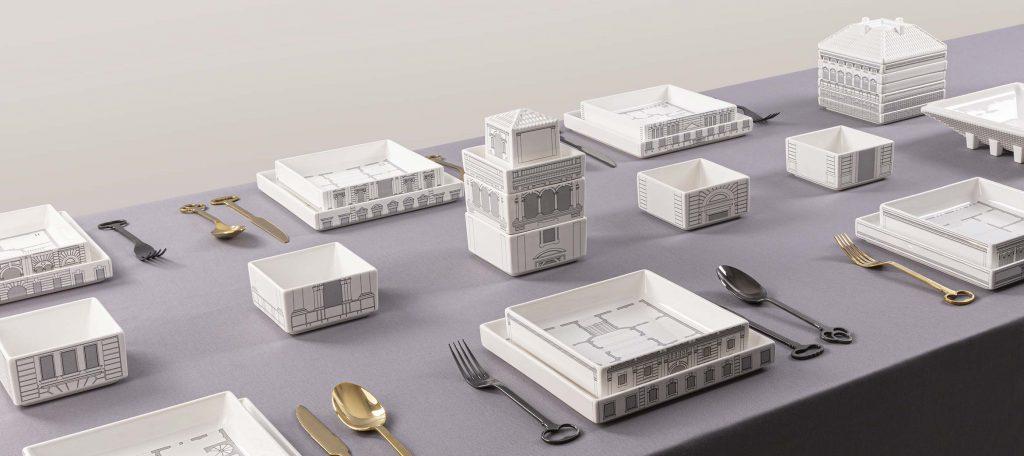servizio di piatti sin porcellana seletti serie palazzi all'interno dei piatti è stampata la mappa reale del palazzo di riferimento