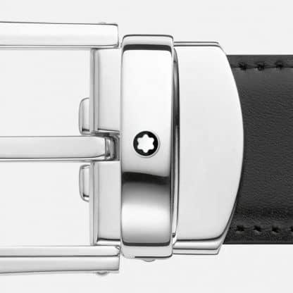 Cintura Montblanc in pelle reversibile nero marrone e regolabile particolare della fibia