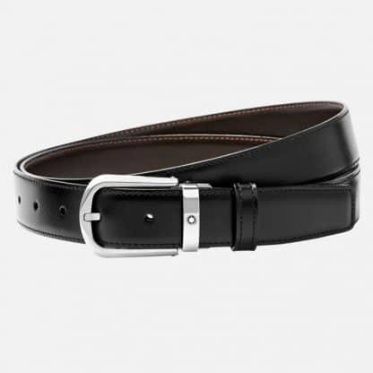 Cintura Montblanc in pelle reversibile nero marrone e regolabile