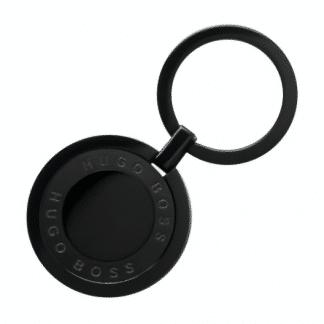 portachiavi hugo boss ad anello finitura rutenio con ciondolo circolare riportante il logo hugo boss in senso circolare