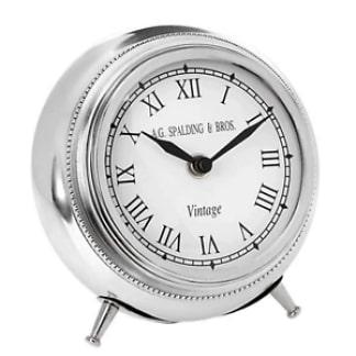 Spalding orologio da tavolo Kensington in alluminio spazzolato lucido