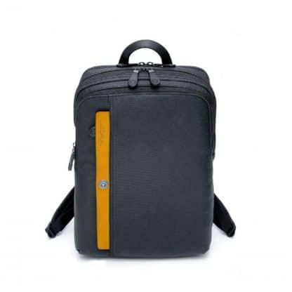 Spalding Zaino Square Matt in canvas resinato nero con inserto anteriore in pelle giallo