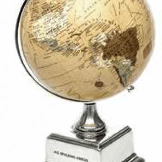 Spalding Mappamondo grande su base in alluminio colore avorio