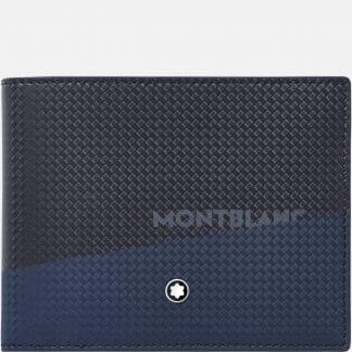 Portafoglio Montblanc in pelle di vitello con stampa della trama della fibra di carbonio di colore nero e blu con logo sul davanti