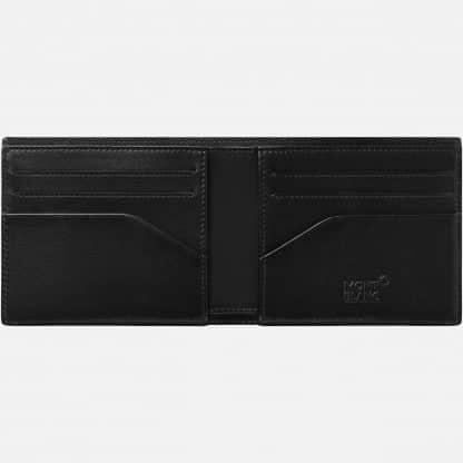 Portafoglio Montblanc in pelle di vitello con stampa della trama della fibra di carbonio di colore nero e blu particolare dell'interno con tasche portacarte