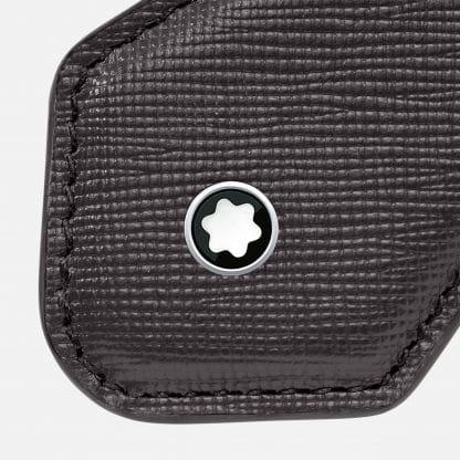 Montblanc portachiavi Sartorial a forma di diamante in pelle di vitello con stampa saffiano particolare del logo
