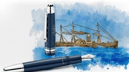 montblanc il giro del mondo in 80 giorni edizione speciale particolare del vaporetto inciso sul cappuccio della penna