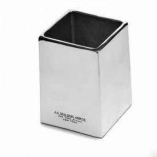 A. G. Spalding & Bros Bicchiere Porta penne da scrivania in alluminio spazzolato lucido