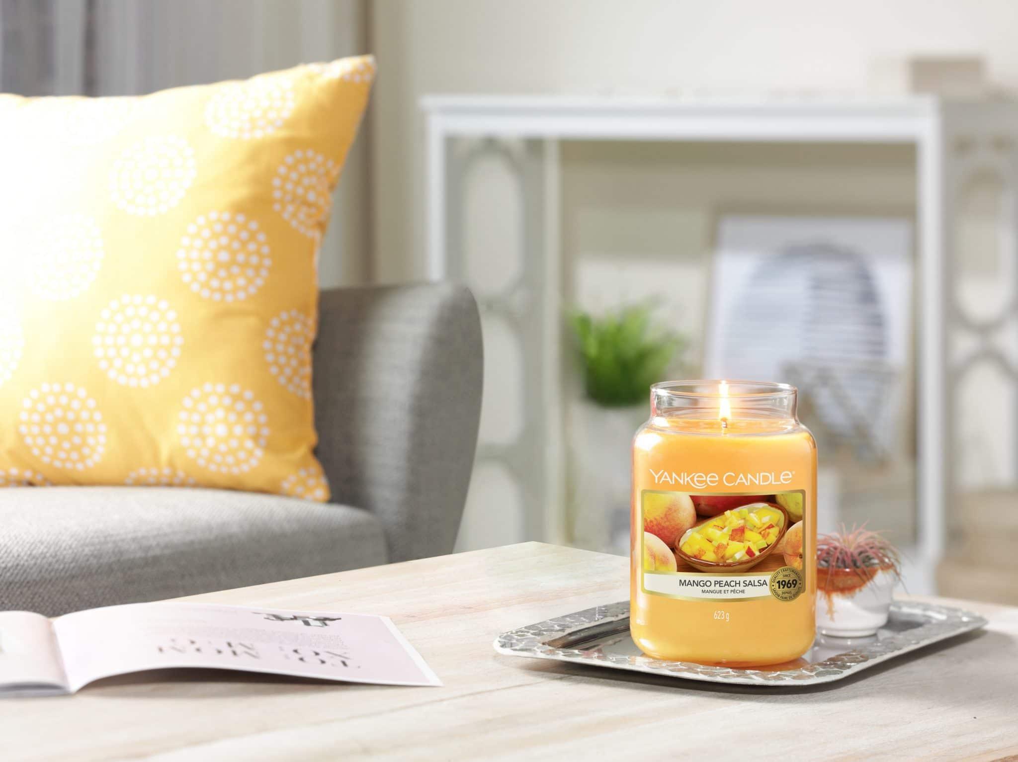 Yankee Candle Mango Peac Salsa fragranza del mese con il 25% di sconto