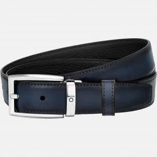 Montblanc cintura reversibile in pelle di vitello nera blu